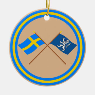 Crossed Sweden and Hallands län flags Double-Sided Ceramic Round Christmas Ornament