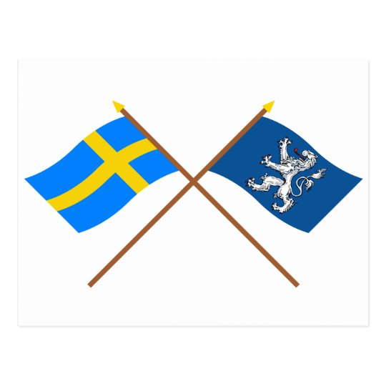 Crossed Sweden and Hallands län flags Postcard