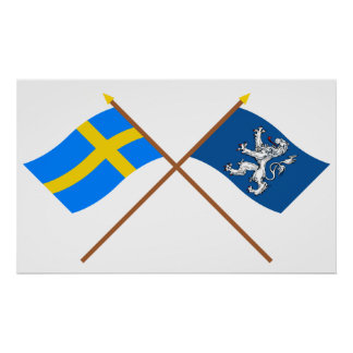 Crossed Sweden and Hallands län flags Poster