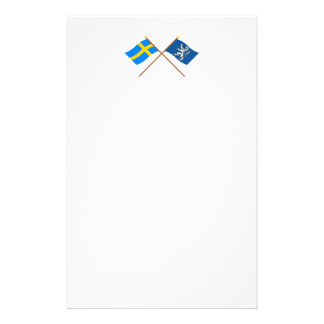 Crossed Sweden and Hallands län flags Stationery