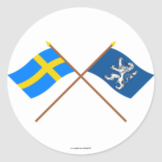 Crossed Sweden and Hallands län flags Classic Round Sticker