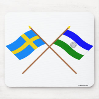 Crossed Sweden and Jämtland Republic flags Mouse Pad