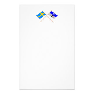 Crossed Sweden and Jämtlands län flags Customized Stationery