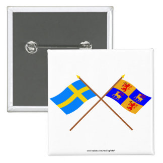 Crossed Sweden and Kalmar län flags Pinback Button
