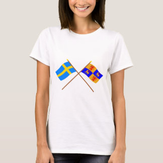 Crossed Sweden and Kalmar län flags T-Shirt
