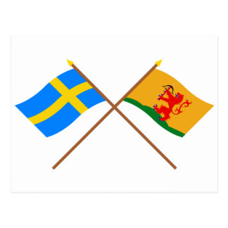 Crossed Sweden and Kronobergs län flags Postcard