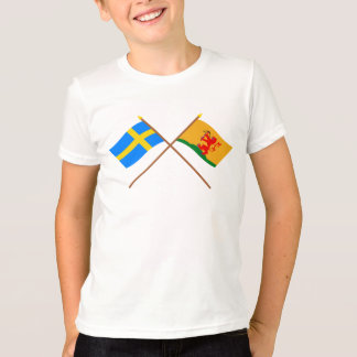 Crossed Sweden and Kronobergs län flags T-Shirt