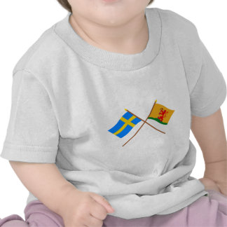 Crossed Sweden and Kronobergs län flags T Shirt