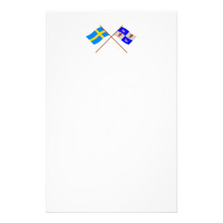 Crossed Sweden and Norrbottens län flags Personalized Stationery
