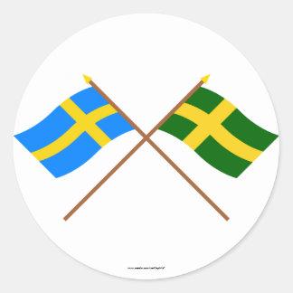 Crossed Sweden and Öland landskap flags Classic Round Sticker