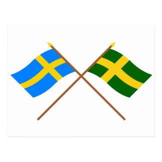 Crossed Sweden and Öland landskap flags Postcard