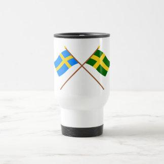 Crossed Sweden and Öland landskap flags Travel Mug
