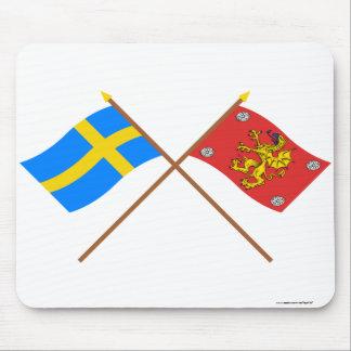 Crossed Sweden and Östergötlands län flags Mousepads