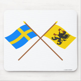 Crossed Sweden and Södermanlands län flags Mousepad