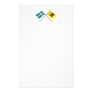 Crossed Sweden and Södermanlands län flags Stationery