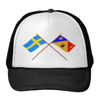 Crossed Sweden and Stockholms län flags Trucker Hat
