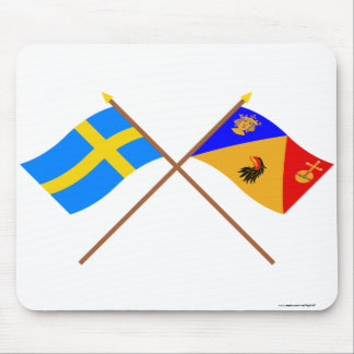 Crossed Sweden and Stockholms län flags Mouse Pad