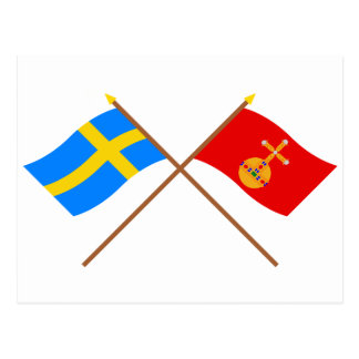Crossed Sweden and Uppsala län flags Postcard
