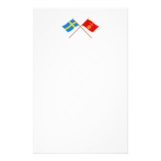 Crossed Sweden and Uppsala län flags Customized Stationery