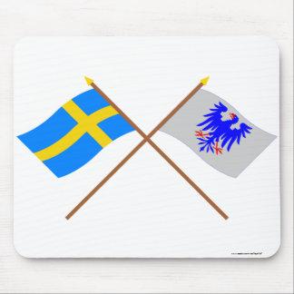 Crossed Sweden and Värmlands län flags Mousepads