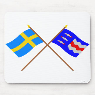 Crossed Sweden and Västernorrlands län flags Mouse Pad