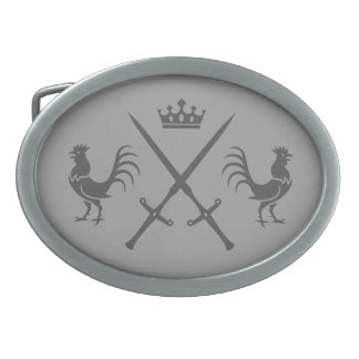 Crossed Swords and Roosters Oval Belt Buckle