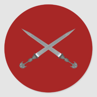 crossed swords crossed swords classic round sticker