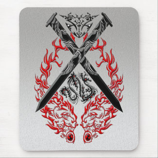 Crossed Swords Dragon Mouse Pad