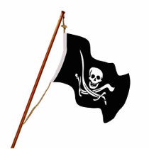 Crossed Swords Jolly Roger Pirate Flag on a Pole. Cutout