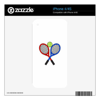 CROSSED TENNIS RAQUETS SKIN FOR iPhone 4S