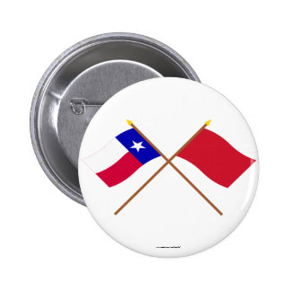 Crossed Texas and Alabama Red Rovers Flags Buttons