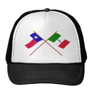 Crossed Texas and Alamo Flags Mesh Hats