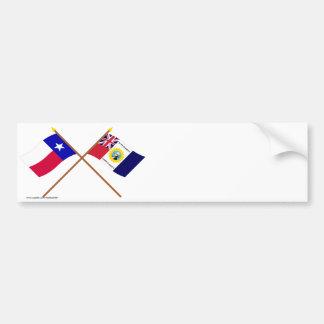 Crossed Texas and Austin-Wharton-Archer Flags Bumper Sticker
