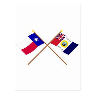Crossed Texas and Austin-Wharton-Archer Flags Postcard