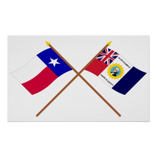 Crossed Texas and Austin-Wharton-Archer Flags Poster