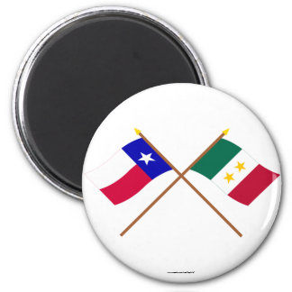 Crossed Texas and Coahuila y Tejas Flags Magnets