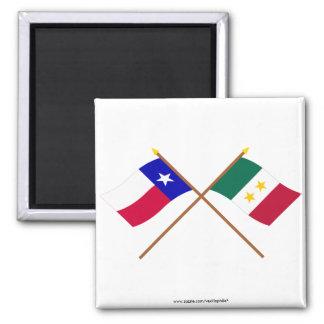 Crossed Texas and Coahuila y Tejas Flags Fridge Magnet