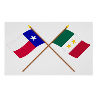 Crossed Texas and Coahuila y Tejas Flags Poster