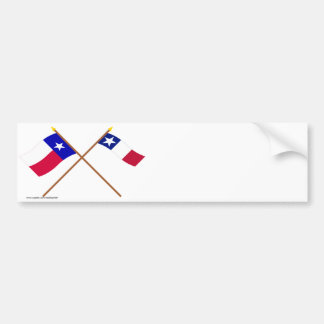 Crossed Texas and Dodson Flags Bumper Stickers