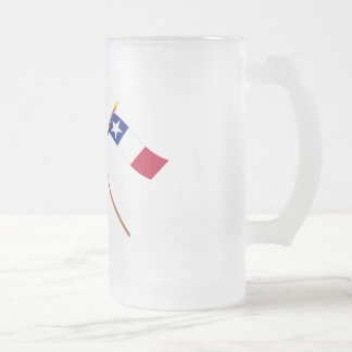 Crossed Texas and Dodson Flags Frosted Glass Beer Mug