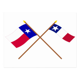 Crossed Texas and Dodson Flags Postcard