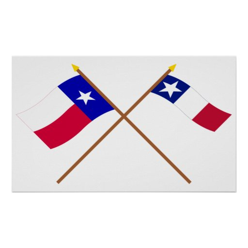 Crossed Texas and Dodson Flags Poster