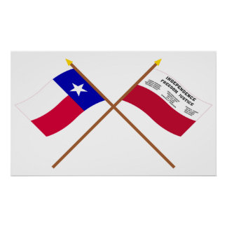 Crossed Texas and Fredonia Flags Print