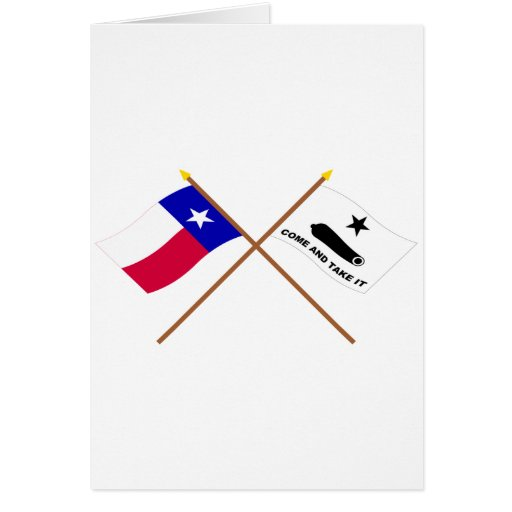Crossed Texas and  Gonzales Flags Greeting Card