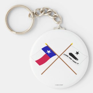 Crossed Texas and  Gonzales Flags Keychain