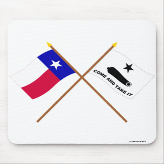 Crossed Texas and  Gonzales Flags Mouse Pad