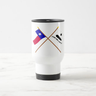 Crossed Texas and  Gonzales Flags Coffee Mugs
