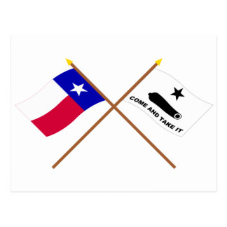Crossed Texas and  Gonzales Flags Postcard