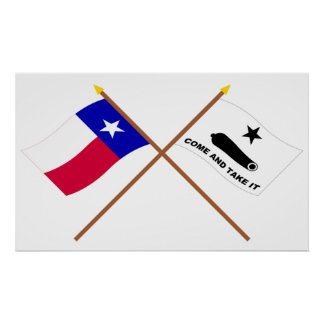 Crossed Texas and  Gonzales Flags Poster