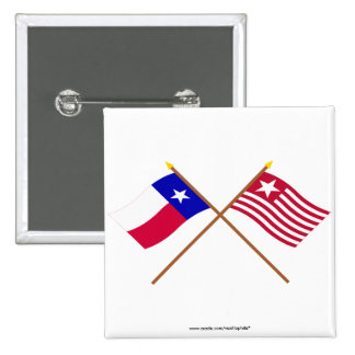 Crossed Texas and Long's Expedition Flags Buttons